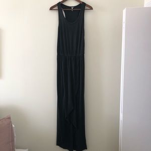 Splendid black cotton maxidress with tulip hem